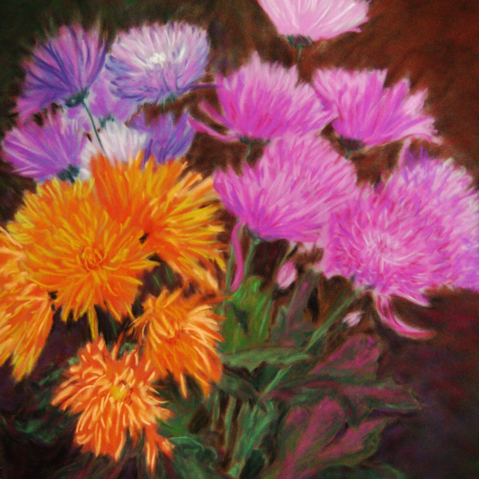 Chrysanthemums: pink orange purple, ArtHenning