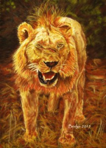 Young Male (Lion) - pastel painting