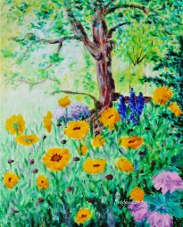My Garden (coreopsis sunfire and other flowers) - acrylic, realistic