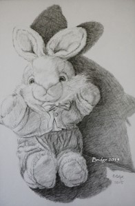 Soft toy bunny, pencil drawing, light and shadow, ArtHenning