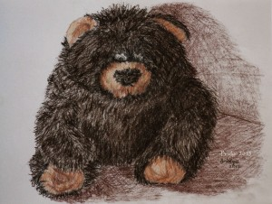 soft toy gorilla, sanguine dark, drawing, ArtHenning