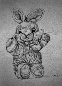 soft toy bunny, pencil drawing, drawing instructions, construction lines, ArtHenning