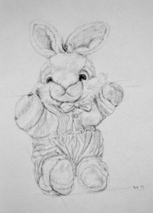 bunny drawing, pencil, drawing instructions, construction lines, ArtHenning
