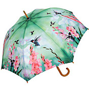 Bblue, green and pink hummingbird umbrella