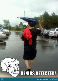 Genius, umbrella on the head