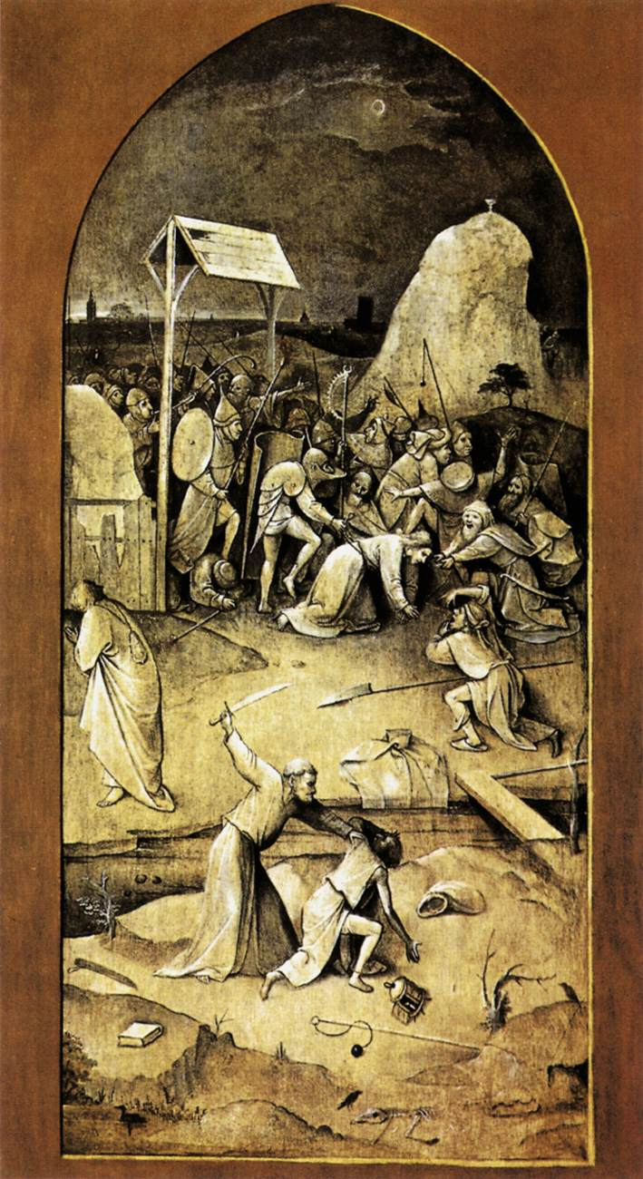 "The Left Outside Panel of ""The Temptation of Saint Anthony"" (Hieronymus Bosch, 1502, oil on panel)"